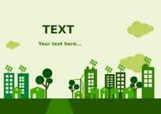 Mieszkania miasta Zielony tło Obrazy Royalty Free