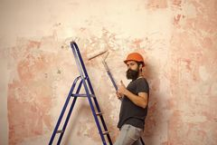 Mieszkania remontowy pojęcie Mężczyzna z długą brodą na rozkrzyczanej twarzy w ciężkim kapeluszu Obraz Royalty Free