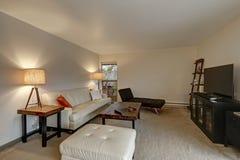 Mieszkania Żywy izbowy wnętrze szczyci się białej skóry kanapę Zdjęcia Stock