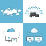 Mieszkanie chmura oblicza ilustracyjnych szablony ustawiających cztery różnego stylu Zdjęcie Royalty Free