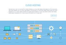 Mieszkanie chmury gościć Sieci baner Obrazy Stock