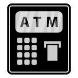 Mieszkanie, czerń i popielata ATM ikona, Obrazy Stock