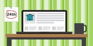 Mieszkanie dla Czynszowej strony internetowej Pokazywać na laptopie na stole Obraz Stock