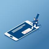 Mieszkanie Isometric Cyfrowy podpis Biznesmena znak na smartphone ilustracja wektor