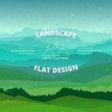 Mieszkanie krajobraz textured ilustracja Piękni wzgórza, wektorowy projekt Obraz Stock