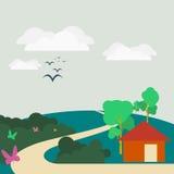 Mieszkanie krajobrazowa ilustracja Obraz Royalty Free