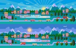 Mieszkanie krajobrazowa ilustracja Zdjęcie Stock