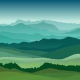 Mieszkanie krajobrazowa ilustracja Piękni wzgórza, wektorowy projekt ilustracja wektor