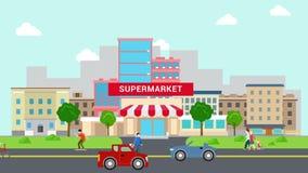 Mieszkanie kreskówki supermarketa centrum handlowego transportu i budynku stylowa uliczna animacja wyjawia ilustracji