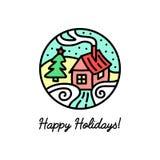 Mieszkanie kreskowa ikona na zima wakacjach Obrazy Stock