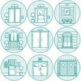 Mieszkanie kreskowe ikony dla drzwi ilustracja wektor