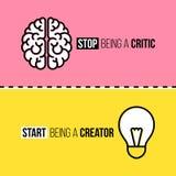 Mieszkanie kreskowe ikony mózg i żarówka Krytyk vs Zdjęcia Royalty Free