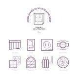 Mieszkanie Kreskowe ikony naprawa i budowa Budowa Industr Zdjęcia Stock