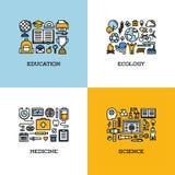 Mieszkanie kreskowe ikony ustawiać edukacja, ekologia, medycyna, nauka Zdjęcia Royalty Free