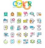 Mieszkanie kreskowe ikony ustawiać ogólnospołeczni środki Obraz Stock