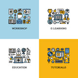 Mieszkanie kreskowe ikony ustawiać warsztat, nauczanie online, edukacja, tutorial Obrazy Stock
