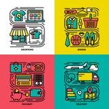 Mieszkanie kreskowe ikony ustawiać zakupy, towary, zapłata, dostawa Zdjęcia Stock