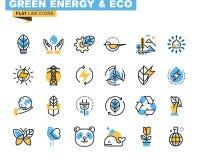 Mieszkanie kreskowe ikony ustawiać zielona technologia Zdjęcie Stock