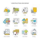 Mieszkanie kreskowe konceptualne sceny ustawiają ikony, przedmioty i narzędzia, Obraz Royalty Free