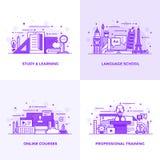 Mieszkanie kreskowe purpury Projektowali pojęcia 6 ilustracja wektor