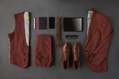 Mieszkanie Lay Strzelający Męska Biznesowa odzież I Digital pastylka Obraz Royalty Free