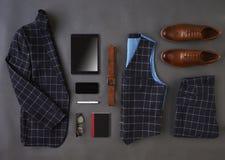 Mieszkanie Lay Strzelający Męska Biznesowa odzież I Digital pastylka Obrazy Royalty Free