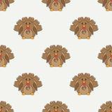 Mieszkanie linii koloru wektorowy bezszwowy deseniowy śliczny zwierzę dla dziecko produktów - indyk Kreskówka styl Children doodl royalty ilustracja