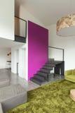 Mieszkanie meblujący, żyjący izbowego widok Zdjęcie Royalty Free