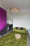 Mieszkanie meblujący, żyjący izbowego widok Obraz Stock