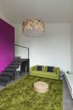 Mieszkanie meblujący, żyjący izbowego widok Zdjęcia Stock