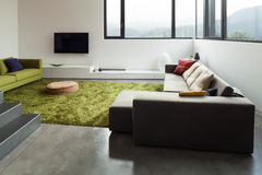 Mieszkanie meblujący, żyjący izbowego widok Obraz Royalty Free