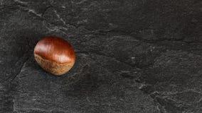 Mieszkanie nieatutowa fotografia - szczegółowy zakończenie w górę kasztanu na czerń kamienia desce obraz stock