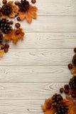 Mieszkanie nieatutowa rama liście, rożki i dokrętki na drewnianym plecy jesieni, Fotografia Stock