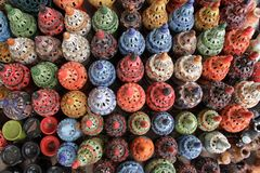 Mieszkanie nieatutowe Stubarwne kadzidłowe lampy, Tunezja Zdjęcie Stock