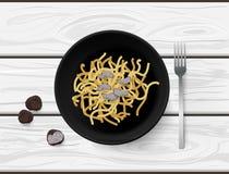 Mieszkanie nieatutowy ręka rysujący wektorowy makaron z truflą pokrajać bulwa grzyba na białym drewnianym stole obraz royalty free
