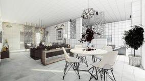 Mieszkanie nowożytny salon ilustracji