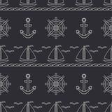 Mieszkanie oceanu kreskowa monochromatyczna wektorowa bezszwowa deseniowa łódź, żagiel, kierownica, kotwica Kreskówka retro styl  royalty ilustracja