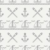 Mieszkanie oceanu kreskowa monochromatyczna wektorowa bezszwowa deseniowa łódź, żagiel, paddle, kotwica Kreskówka retro styl rega Zdjęcia Royalty Free