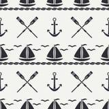 Mieszkanie oceanu kreskowa monochromatyczna wektorowa bezszwowa deseniowa łódź, żagiel, paddle, kotwica Kreskówka retro styl rega Obrazy Royalty Free