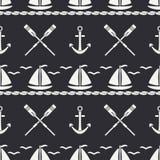 Mieszkanie oceanu kreskowa monochromatyczna wektorowa bezszwowa deseniowa łódź, żagiel, paddle, kotwica Kreskówka retro styl rega Zdjęcia Stock