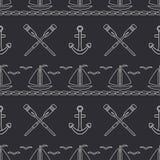 Mieszkanie oceanu kreskowa monochromatyczna wektorowa bezszwowa deseniowa łódź, żagiel, paddle, kotwica Kreskówka retro styl rega Obrazy Stock