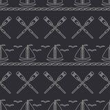 Mieszkanie oceanu kreskowa monochromatyczna wektorowa bezszwowa deseniowa łódź z żaglem, paddle Kreskówka retro styl regatta Seag Zdjęcie Royalty Free