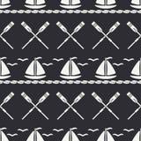 Mieszkanie oceanu kreskowa monochromatyczna wektorowa bezszwowa deseniowa łódź z żaglem, paddle Kreskówka retro styl regatta Seag Obrazy Royalty Free