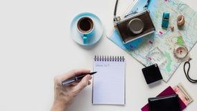 Mieszkanie Odgórnego widoku rocznika podróży Nieatutowy planowanie zdjęcie royalty free