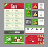 Mieszkanie pizzy menu stylowy projekt Dokumentu szablon Obrazy Stock