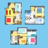 Mieszkanie plan z meble setem wektor ilustracji