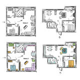 Mieszkanie plan z meble, wektorowy nakreślenie Zdjęcia Stock