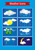 Mieszkanie pogodowa ikona ustawiająca - ilustracja Obraz Stock