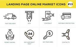 Mieszkanie projekta pojęcia kreskowe ikony dla online zakupy, strona internetowa sztandaru i lądowanie strony, Obraz Stock