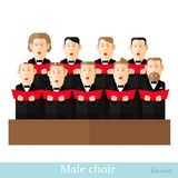 Mieszkanie stylowy męski chór w dwa raws z czerń kostiumami i czerwoną okładkową notatką royalty ilustracja